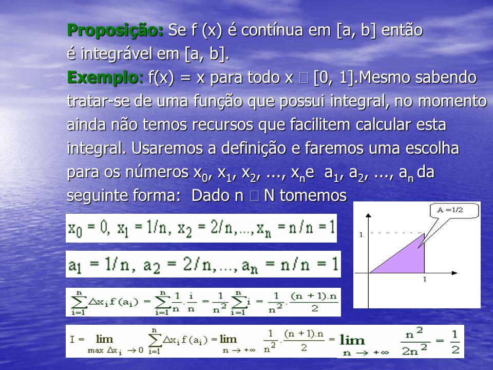 Proposição: Se f (x) é contínua em [a, b] então